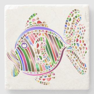 Colorful Abstract Fish Mosaic Art Stone Coaster