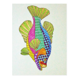 Colorful abstract fish postcard
