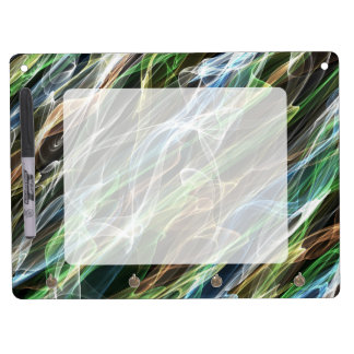 Colorful abstract flames pattern dry erase board with keychain holder