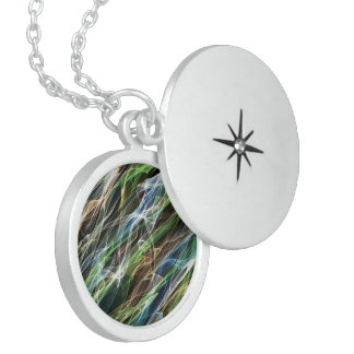 Colorful abstract flames pattern locket necklace