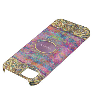 Colorful Abstract Floral Collage-Monogram iPhone 5C Cases