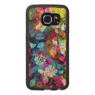 Colorful Abstract Floral Collage Wood Phone Case