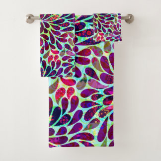 Colorful Abstract Floral Damask Pattern Bath Towel Set