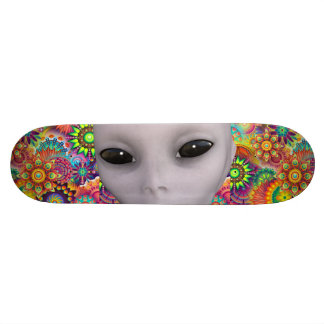 Colorful Abstract Floral Pattern Extraterrestrial Skateboard Deck