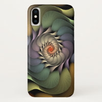 Colorful Abstract Floral Rainbow Spiral iPhone X Case