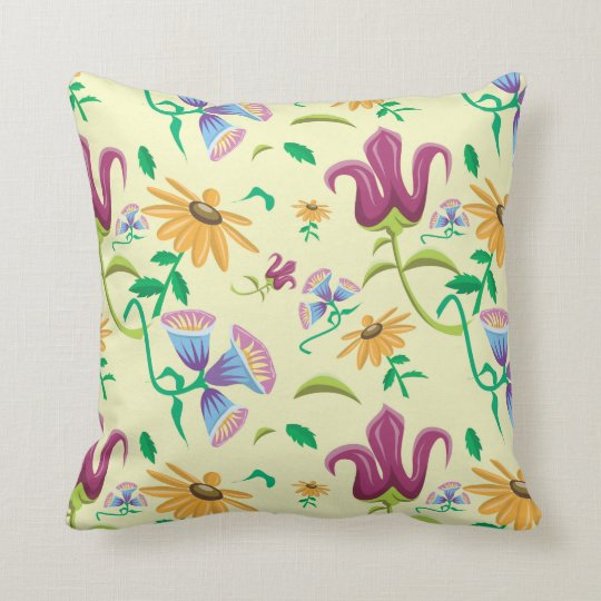 colorful abstract floral throw pillow