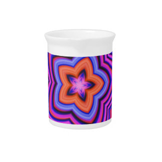 Colorful Abstract Flower Art Beverage Pitcher