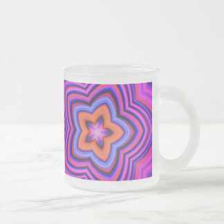 Colorful Abstract Flower Art Frosted Glass Coffee Mug