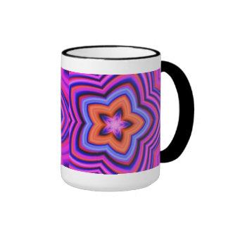 Colorful Abstract Flower Art Ringer Mug