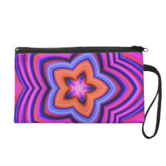 Colorful Abstract Flower Art Wristlet Clutches
