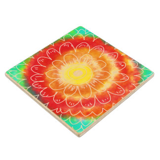 Colorful Abstract Flower Doodle Wood Coaster