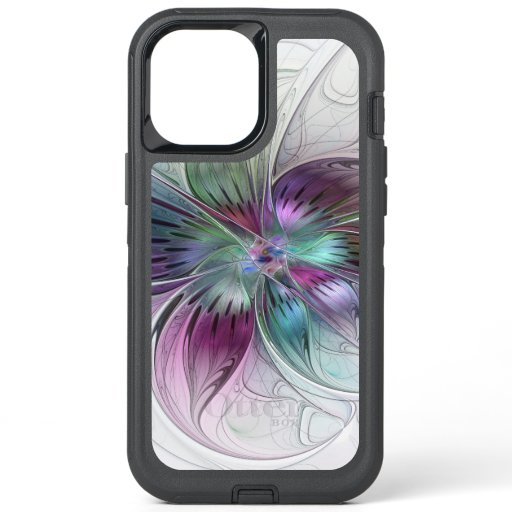 Colorful Abstract Flower Modern Floral Fractal Art OtterBox Defender iPhone 12 Pro Max Case