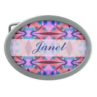 Colorful Abstract Flower Pattern Oval Belt Buckle