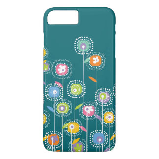 Colorful Abstract Flowers Blue-Green Background iPhone 8 Plus/7 Plus Case
