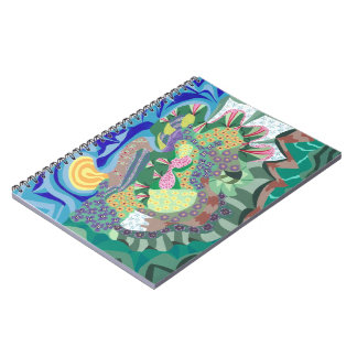 Colorful Abstract Flowers in a Garden Notebook