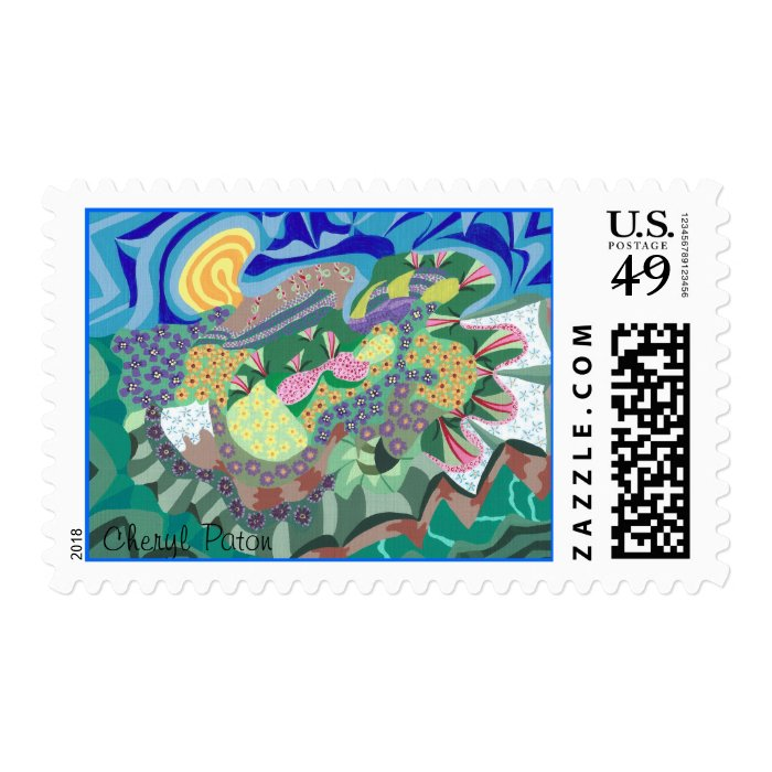 Colorful Abstract Flowers in a Garden Stamps