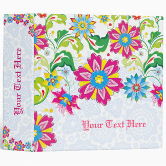 Colorful Abstract Flowers Vinyl Binder