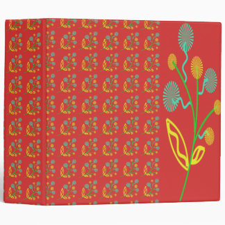 Colorful Abstract Flowers with Red Background Aver 3 Ring Binder