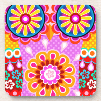 Colorful Abstract Folk Owl Art Coasters - Set of 6