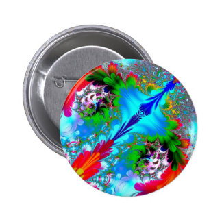 Colorful Abstract Fractal Art Pinback Button