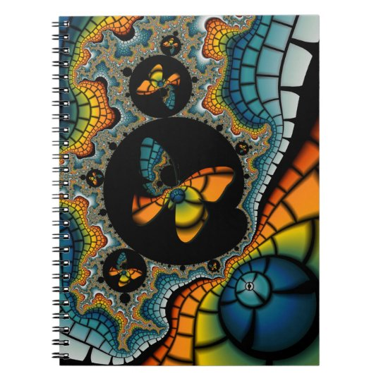 colorful abstract Fractal Butterfly Cacoon Notebook
