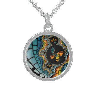 colorful abstract Fractal Butterfly Cacoon Sterling Silver Necklace