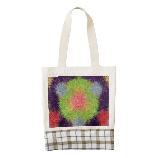 Colorful abstract furry brush pattern zazzle HEART tote bag