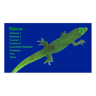 Colorful abstract gecko on blue business card