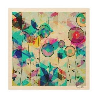 Colorful Abstract Geometric Art Wood Wall Art