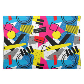 Colorful Abstract Geometric Eighties Pattern Placemat