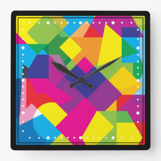 Colorful Abstract Geometric Pattern Square Wall Clock