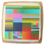 Colorful Abstract Geometry Square Premium Shortbread Cookie