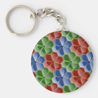Colorful Abstract Glass Flowers Lg Keychain