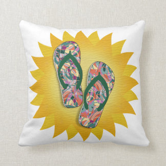 Colorful Abstract - Green,Orange,Yellow Flip-Flops Throw Pillow