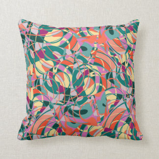 Colorful Abstract - Green,Orange,Yellow Throw Pillow