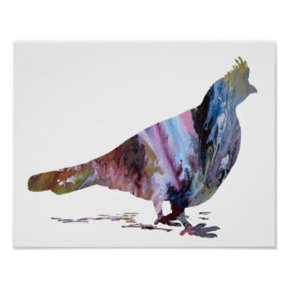 Colorful abstract  Grouse silhouette Poster