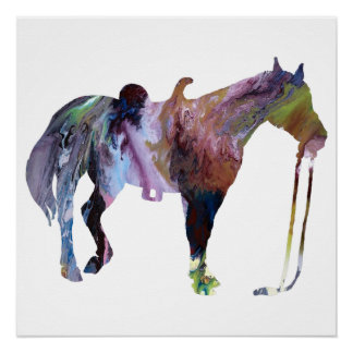 Colorful abstract horse silhouette poster