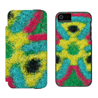 Colorful abstract kaleidoscope wallet case for iPhone SE/5/5s