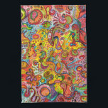 """Colorful Abstract Kitchen Towel<br><div class=""""desc"""">This colorful abstract Kitchen Towel is bursting with bright colors and detailed designs!  Inspired by tribal art from around the world,  this funky whimsical Kitchen Towel is sure to brighten your day! This colorful abstract Kitchen Towel is based on the original art of Thaneeya McArdle.</div>"""