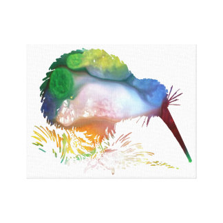 Colorful abstract  Kiwi silhouette Canvas Print