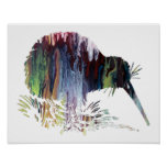 Colorful abstract  Kiwi silhouette Poster
