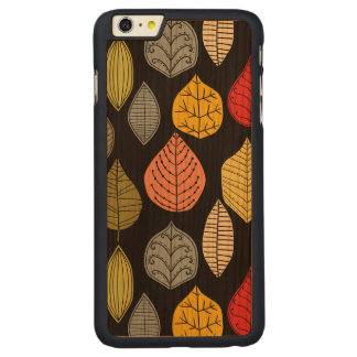 Colorful Abstract Leafs Over Changeable background Carved Cherry iPhone 6 Plus Slim Case