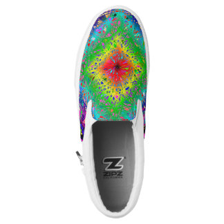 Colorful abstract leaves and crystals zipz Slip-On sneakers