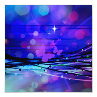 Colorful Abstract Light Rays Butterflies Bubbles Card