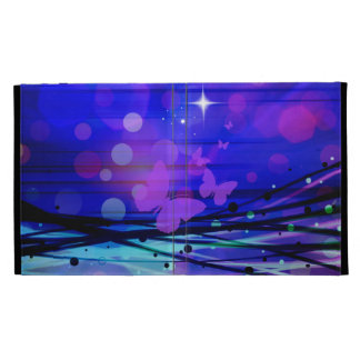 Colorful Abstract Light Rays Butterflies Bubbles iPad Folio Case