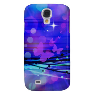 Colorful Abstract Light Rays Butterflies Bubbles Galaxy S4 Cover