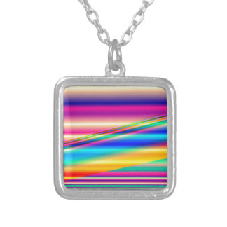 Colorful Abstract Lines: Square Pendant Necklace