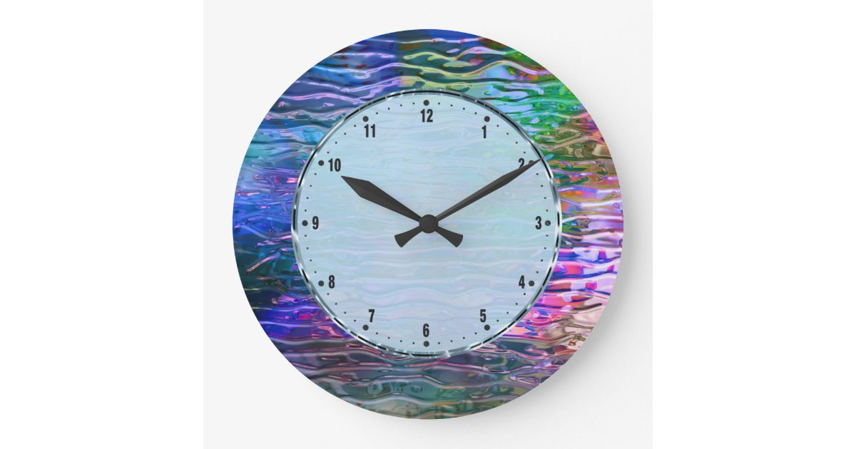 Colorful Abstract Melting Glass Large Clock Zazzle