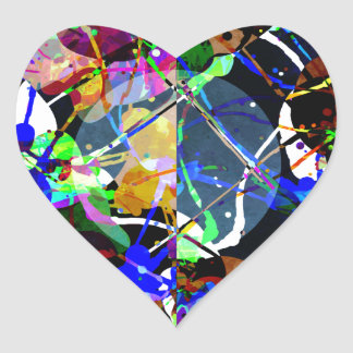 Colorful Abstract Mixed Media Heart Sticker