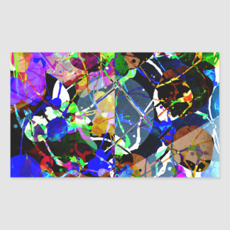 Colorful Abstract Mixed Media Rectangular Sticker